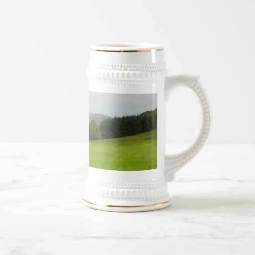 Green meadow. Countryside scenery. Coffee Mug