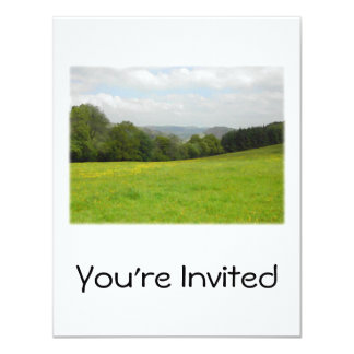 Green meadow. Countryside scenery. Custom Card