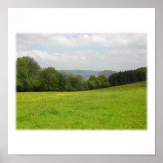 Green meadow. Countryside scenery. Custom Poster