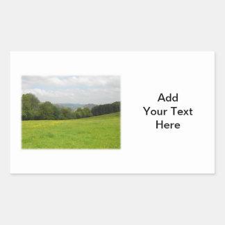 Green meadow. Countryside scenery. Custom Rectangular Sticker