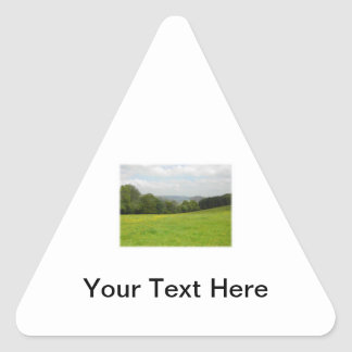Green meadow. Countryside scenery. Custom Triangle Sticker