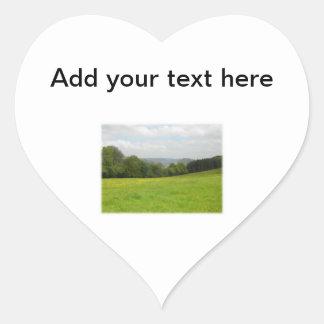 Green meadow. Countryside scenery. Custom Heart Sticker