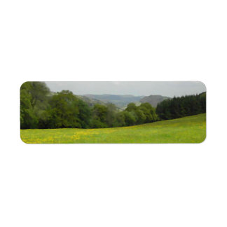 Green meadow. Countryside scenery. Return Address Label