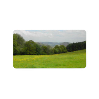 Green meadow. Countryside scenery. Address Label