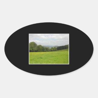 Green meadow. Countryside scenery. Oval Sticker
