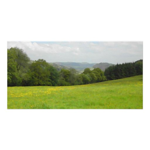 Green meadow. Countryside scenery. Photo Card