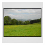 Green meadow. Countryside scenery. Posters