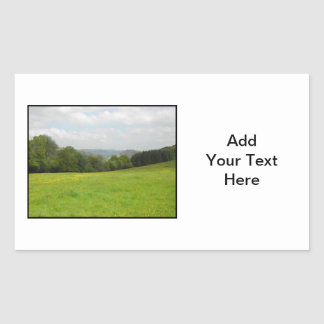 Green meadow. Countryside scenery. Rectangular Sticker