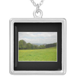 Green meadow. Countryside scenery. Silver Plated Necklace
