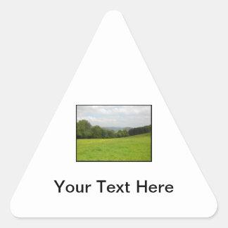 Green meadow. Countryside scenery. Triangle Sticker
