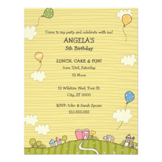 Green Meadows Children's Birthday Party Invitation