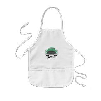 Green Mean Retro Car Boy's Birthday Kids' Apron