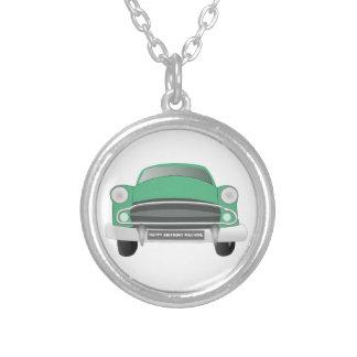 Green Mean Retro Car Boy's Birthday Round Pendant Necklace