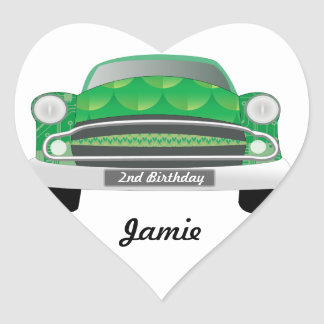 Green Mean Retro Car Boy's Birthday Heart Sticker