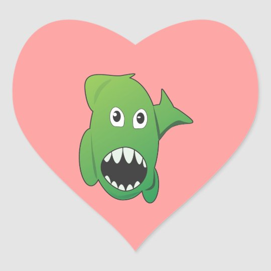 Green Mean Shark Heart Sticker