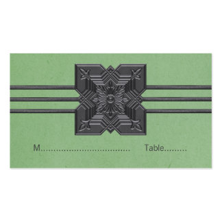 Green Medallion Border Place Card Business Card