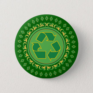 Green Medallion Recycling Sign Button