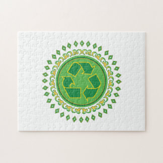 Green Medallion Recycling Sign Jigsaw Puzzle