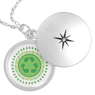 Green Medallion Recycling Sign Locket Necklace