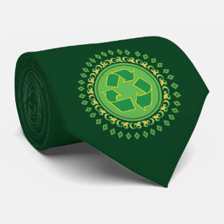 Green Medallion Recycling Sign Neck Tie