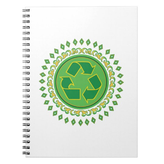 Green Medallion Recycling Sign Notebook