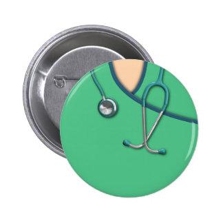 Green Medical Scrubs Pinback Button