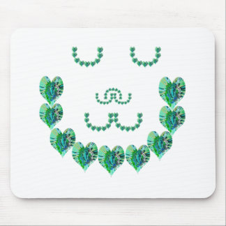 GREEN Meditation Lady : HEART shaped art Mouse Pad
