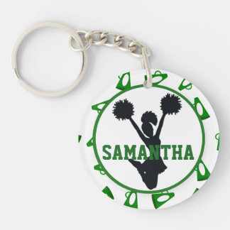 Green Megaphone and Cheerleader Personalized Photo Double-Sided Round Acrylic Keychain