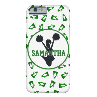 Green Megaphones and Cheerleader Personalized Barely There iPhone 6 Case