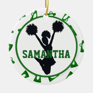Green Megaphones and Cheerleader Personalized Ceramic Ornament