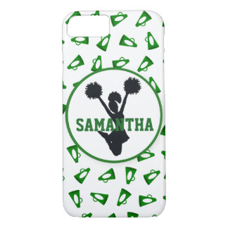 Green Megaphones and Cheerleader Personalized iPhone 7 Case