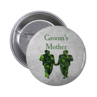 Green Men Ivy & Silver Gay Groom's Mother Pin
