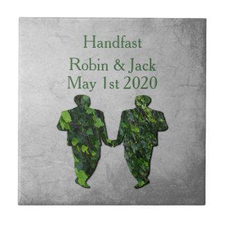 Green Men Ivy & Silver Gay Handfasting Gift Tile