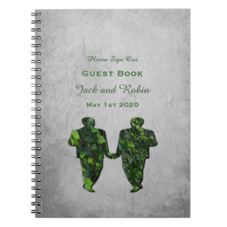 Green Men Ivy & Silver Gay Handfasting Guest Book Spiral Notebook