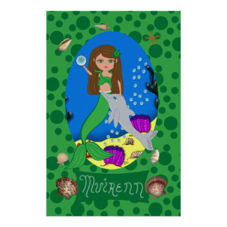 Green Mermaid and Dolphin Print