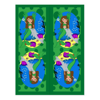 Green Mermaid and Merfaery Bookmarks Postcard