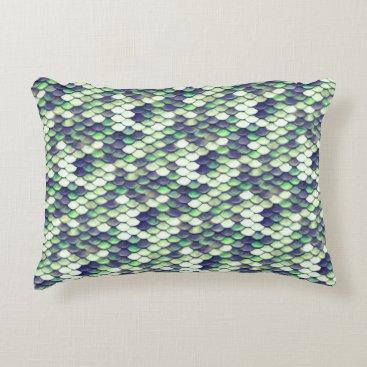 green mermaid skin pattern accent pillow