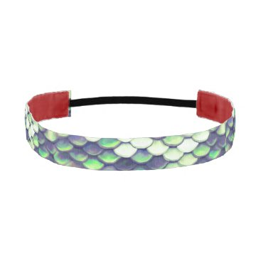 Beach Themed green mermaid skin pattern athletic headband