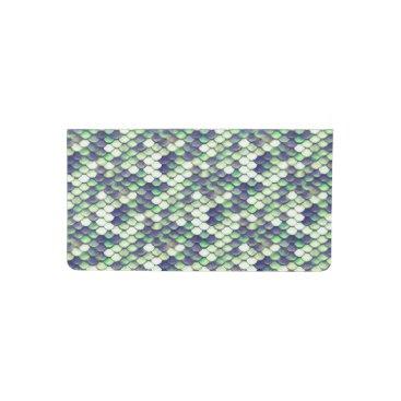 Beach Themed green mermaid skin pattern checkbook cover
