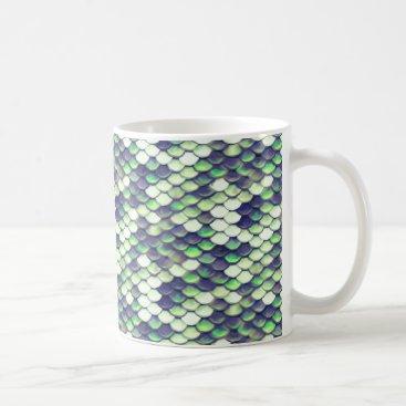 Beach Themed green mermaid skin pattern coffee mug