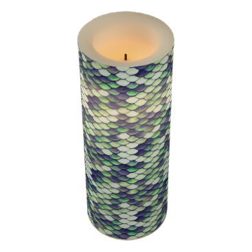 Beach Themed green mermaid skin pattern flameless candle