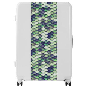 green mermaid skin pattern luggage