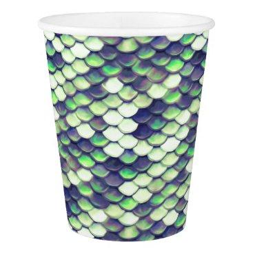 Beach Themed green mermaid skin pattern paper cup