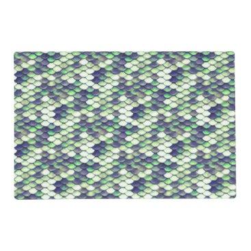 green mermaid skin pattern placemat