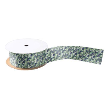 Beach Themed green mermaid skin pattern satin ribbon