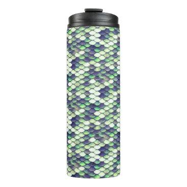 Beach Themed green mermaid skin pattern thermal tumbler