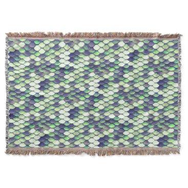 green mermaid skin pattern throw blanket