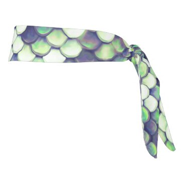 Beach Themed green mermaid skin pattern tie headband