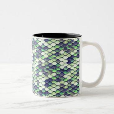 Beach Themed green mermaid skin pattern Two-Tone coffee mug