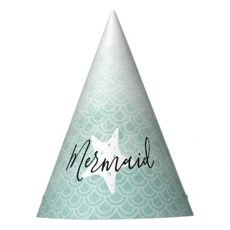 Green Mermaid Starfish Birthday Party Hat